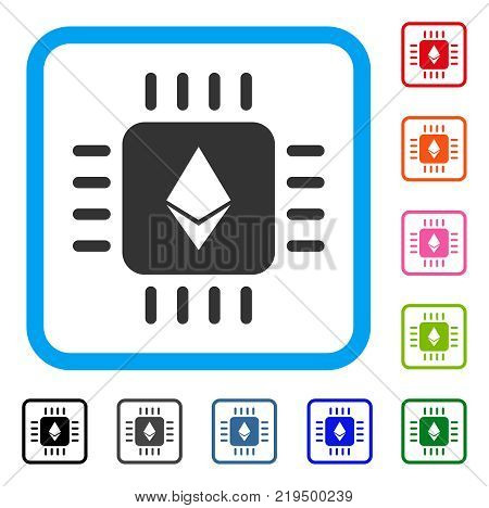 Ethereum Processor Chip icon. Flat gray pictogram symbol inside a blue rounded rectangular frame. Black, gray, green, blue, red, orange color variants of Ethereum Processor Chip vector.