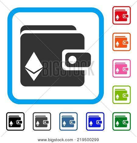 Ethereum Purse icon. Flat grey iconic symbol inside a blue rounded frame. Black, gray, green, blue, red, orange color versions of Ethereum Purse vector. Designed for web and software interfaces.