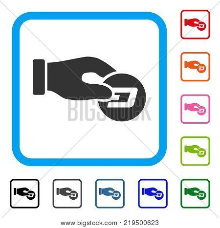 Hand Pay Dash icon. Flat gray iconic symbol inside a blue rounded square. Black, gray, green, blue, red, orange color additional versions of Hand Pay Dash vector. Designed for web and software UI.