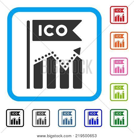 Ico Chart icon. Flat gray pictogram symbol in a blue rounded squared frame. Black, gray, green, blue, red, orange color variants of Ico Chart vector. Designed for web and application UI.