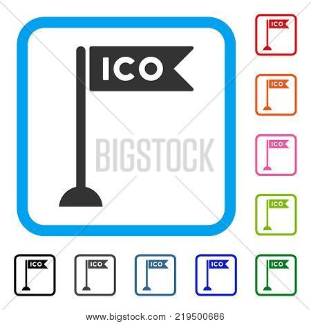 Ico Flag Marker icon. Flat grey iconic symbol in a blue rounded rectangular frame. Black, gray, green, blue, red, orange color versions of Ico Flag Marker vector.