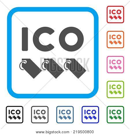 Ico Tokens icon. Flat gray iconic symbol in a blue rounded squared frame. Black, gray, green, blue, red, orange color additional versions of Ico Tokens vector.