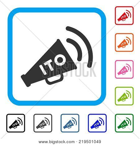 Ito Alert Megaphone icon. Flat gray iconic symbol inside a blue rounded frame. Black, gray, green, blue, red, orange color additional versions of Ito Alert Megaphone vector.