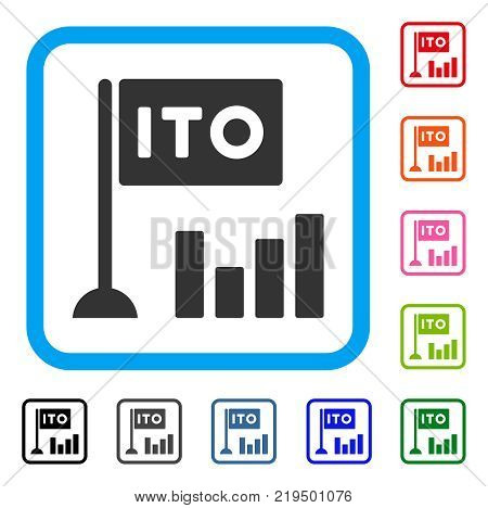 Ito Bar Chart icon. Flat gray pictogram symbol in a blue rounded rectangular frame. Black, gray, green, blue, red, orange color additional versions of Ito Bar Chart vector.