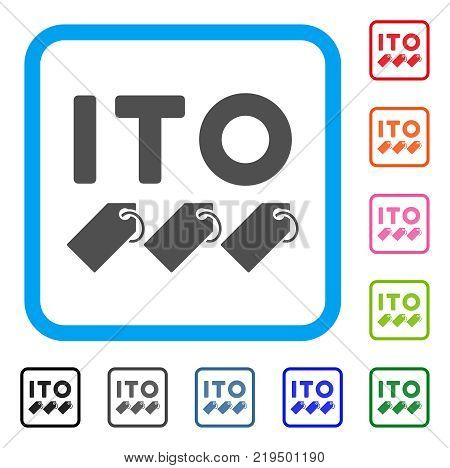 Ito Tokens icon. Flat grey iconic symbol in a blue rounded rectangle. Black, gray, green, blue, red, orange color versions of Ito Tokens vector. Designed for web and software interfaces.