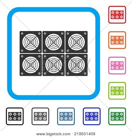 Mining Asic Farm icon. Flat grey iconic symbol in a blue rounded rectangle. Black, gray, green, blue, red, orange color versions of Mining Asic Farm vector.
