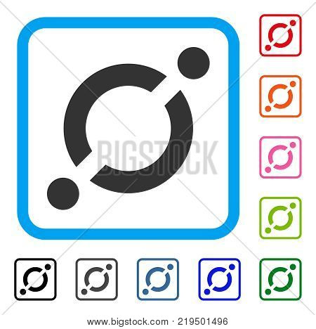 Node Link icon. Flat gray pictogram symbol in a blue rounded square. Black, gray, green, blue, red, orange color versions of Node Link vector. Designed for web and software interfaces.