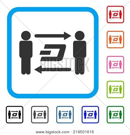 People Exchange Dash icon. Flat gray iconic symbol in a blue rounded frame. Black, gray, green, blue, red, orange color variants of People Exchange Dash vector.