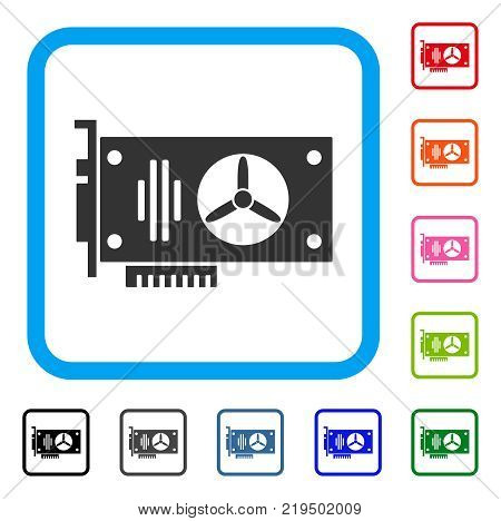 Videocard icon. Flat grey pictogram symbol in a blue rounded squared frame. Black, gray, green, blue, red, orange color additional versions of Videocard vector.