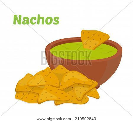 Nachos mexican chips, spicy fast food with sauce salsa. Made in cartoon flat style. Vector illustration