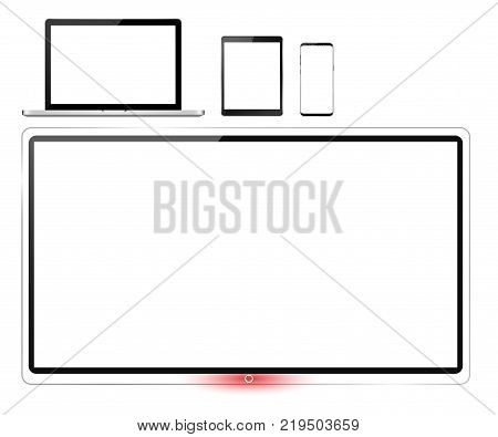 Realistic set of monitor, tv screen, laptop, tablet and smartphone - stock vector
