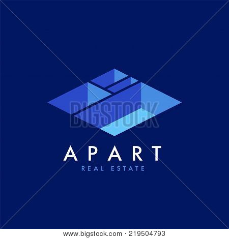 Real estate vector logo design template for corporate identity. Apartment isometric plan icon template leayout.