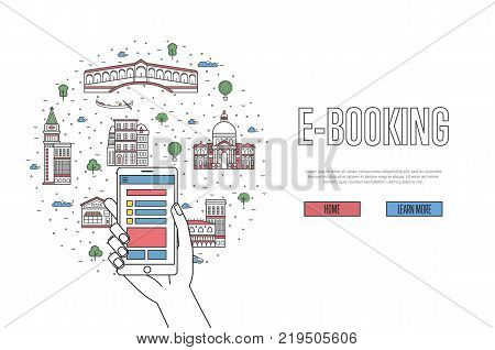 E-booking poster with venetian famous architectural landmarks in linear style. Online tickets ordering, mobile payment concept with smartphone in hand. World traveling, Italy historic attractions