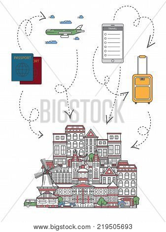 Time to travel infographics with famous netherlands architectural attractions, travel bag, passport, plane, smartphone in linear style. Online tickets ordering, europian tour advertising background.