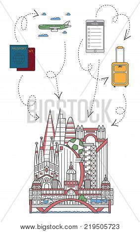 Lets travel poster with famous spanish architectural attractions, travel bag, passport, plane and smartphone in linear style. Online tickets ordering, europian tour advertising vector background.