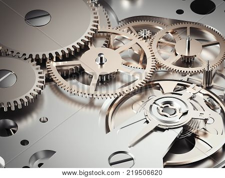 Clockwork mechanism with a plurality of gears. 3d rendering