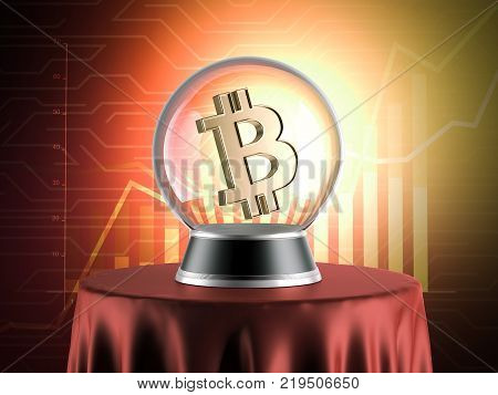 Sphere of predictions with bitcoin symbol inside and chart on background. 3d rendering