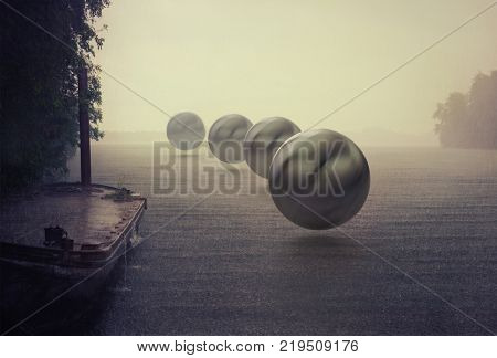 mystery spheres over the rain lake. Photocombination concept