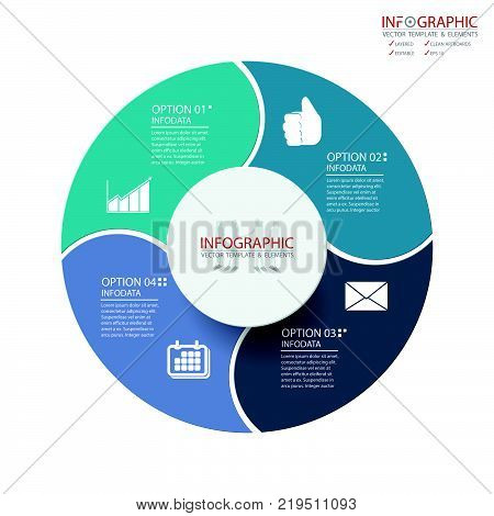 Vector abstract element infographics 4 option. Design for business or finance template layout brochure workflow information or presentation and other. Can add infodata and icon. Abstract 3D vector.
