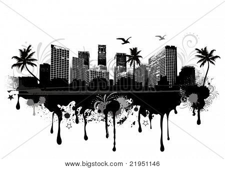 vector illustration of an seastrand urban cityscape