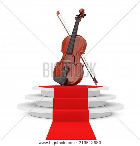 Classical Wooden Violin with Bow over Round White Pedestal with Steps and a Red Carpet on a white background. 3d Rendering