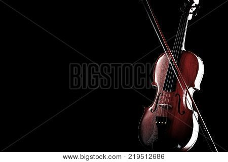 Classical Wooden Violin with Bow on a black background. 3d Rendering