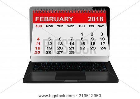 2018 year calendar. February calendar over laptop screen on a white background. 3d rendering