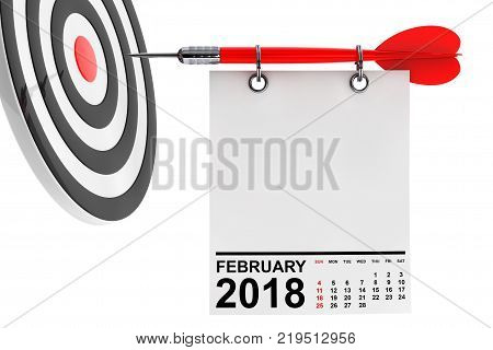 Calendar February 2018 on blank note paper with free space for your text with target. 3d Rendering