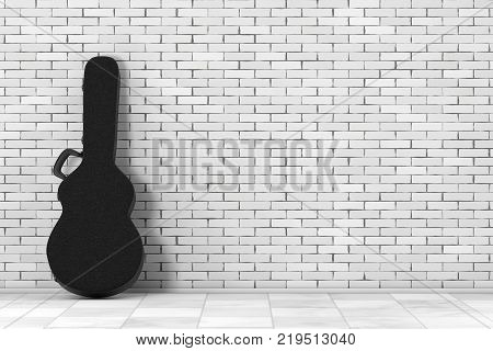 Acoustic Guitar Black Leather Hard Case in front of brick wall. 3d Rendering