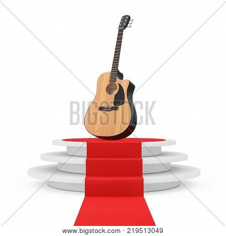Wooden Acoustic Guitar over Round White Pedestal with Steps and a Red Carpet on a white background. 3d Rendering