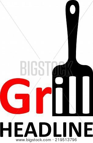 grill blade with word grill and text grill logo menu