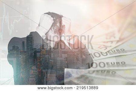 Double exposure of business man in stress over financial issues pulling his hair in despair. Finance concept
