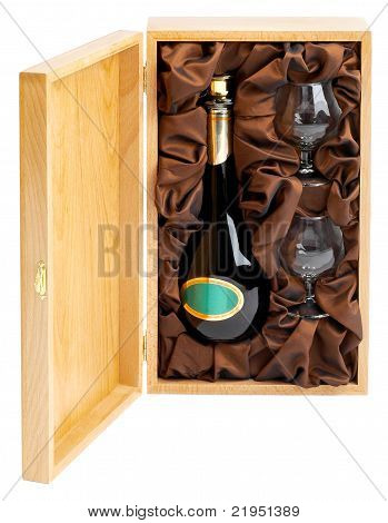 Open Wooden Box With Bottle Of Wine And Glasses