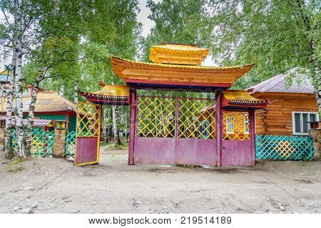 Buddhist datsan Dechen Ravzhalin in Arshan. Buryatia. Russia