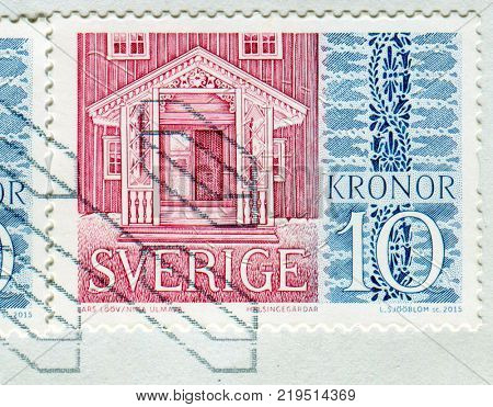 GOMEL, BELARUS, 6 DECEMBER 2017, Stamp printed in Sweden shows image of the Porch, circa 2015.