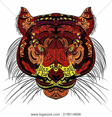 Tiger head. Adult antistress coloring page. Colored hand drawn doodle animal. Ethnic patterned vector. African indian totem tribal zentangle design.