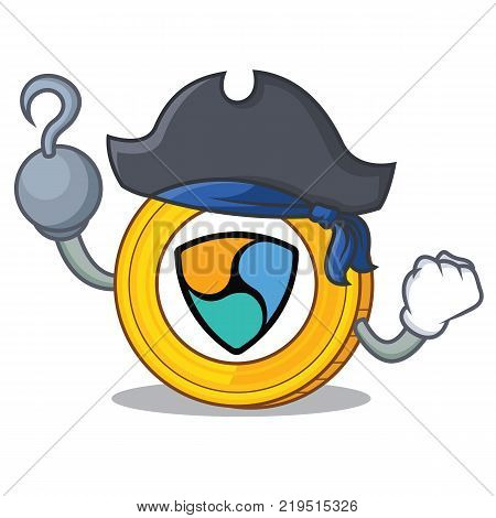 Pirate NEM coin character cartoon vector illustration