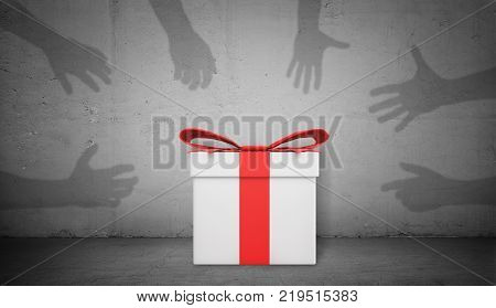 3d rendering of a single white gift box with a red ribbon stands on concrete background with many shadow hands trying to grab it. Holiday season. Presents and gifts. Christmas sale.