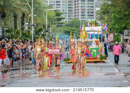 Pattaya Thailand - November 19 2017: Mini Siam parade marching on the 50th anniversary ASEAN International Fleet Review 2017 to promote tourism in Pattaya city of Thailand