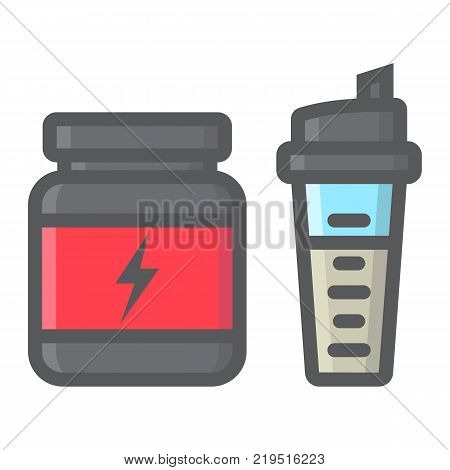 Whey protein with sports shaker filled outline icon, fitness and sport, nutrition sign vector graphics, a colorful line pattern on a white background, eps 10.