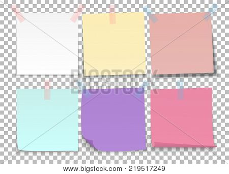 Set of sheets of color notes paper with adhesive tape on a transparent background. Vector illustration