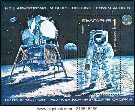 Ukraine - circa 2017: A postage stamp printed in Bulgaria shows picture Neil Armstrong from Apollo II on Lunar Surface. Series: Space Research Exploration. Circa 1990.