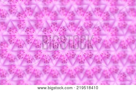 Sexangle pattern of pink blurred macro azalea. Abstract background with kaleidoscope effect, mirror reflection imitation. Summer spring floral symmetrical template. Enchanting magnetic romantic image poster