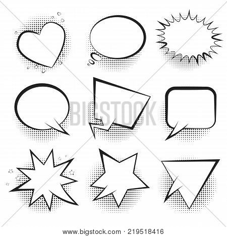 Big set of white empty retro comic speech bubbles with black halftone in pop art style. Black outline message balloons for comics book or advertising text, web design, banners