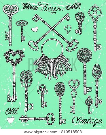 Hand drawn set with old vintage keys with heart elements on texture background. Graphic design collection for antique decorations, card. Hand drawn vintage illustration with Valentine's Day concept
