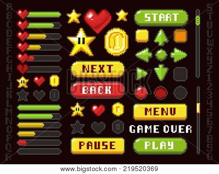Pixel game buttons, navigation and notation elements and symbols vector set. Button interface game arrow and play, back and next illustration