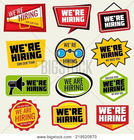 Now hiring vector signs. Employment opportunity stickers. We hiring sticker, job and employment recruitment illustration