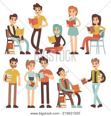 Students reading books. Young people read documents vector cartoon characters. Young student with book, education and read textbook illustration