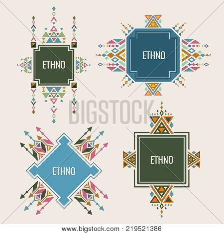Colorful ethno logo or banners design with authentic ornaments. Vector ethnic tribal logo emblem, aztec culture sign illustration