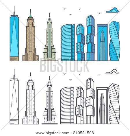 Linear and colorful city skyscrapers isolated on white background. Cityscape urban skyscraper, set of outline building. Vector illustration